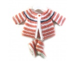 KSS Persimmon Sweater/Cardigan with Booties Newborn - 3 Months KSS-SW-609-EB