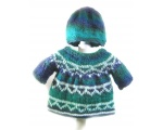 KSS Blue/Green/White Pullover Sweater with a Hat (6 Months) KSS-SW-617-AZ