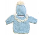 KSS Light Blue Soft Pullover Fringe Sweater with a Hat (6 Months) KSS-SW-623-EB