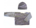 KSS Purple/Brown Striped Pullover Sweater with a Hat (12 Months)