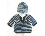 KSS Striped Pullover Baby Sweater with a Hat (9 Months) KSS-SW-630-EB