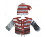KSS Grey/Red Sweater/Cardigan with a Hat (3 Months)