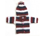 KSS Red, White & Blue Sweater/Cardigan with a Hat (Newborn)