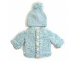 KSS Aqua Colored Sweater/Cardigan with a Hat (3 Months)