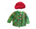 KSS Heavy Green Colorful Sweater/Cardigan & Hat (3 Years)