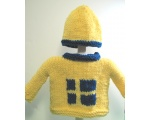 KSS Yellow Pullover Sweater with Swedish Flag and Hat (12 Months)
