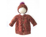 KSS Heavy Dark Red Knitted Sweater/Jacket & Hat 2 Years