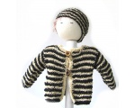 KSS Zebra Striped Sweater/Cardigan with a Hat (3 Months)