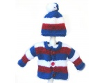 KSS Red, White and Blue Sweater/Cardigan with a Hat 3 Months