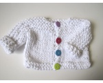 KSS White Cotton Baby Sweater/Cardigan (3 - 6 Months)