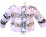 KSS Striped Heavy Grey/Pink Baby Sweater/Cardigan (6 Months)