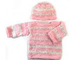 KSS Heavy Pink/Beige Striped Toddler Pullover Sweater 3T