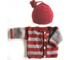 KSS Heavy Grey/Red Cardigan and Cap (18 Months)