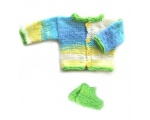 KSS Light Blue/Beige/Green Sweater/Cardigan with Booties 3 Months KSS-SW-691-EB-PC