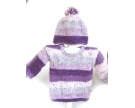 KSS Striped Soft Purple/White Toddler Sweater & Hat (18 Months)