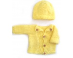 KSS Yellow Sweater/Cardigan with a Hat NB-3 Months