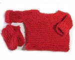 KSS Red Cotton Soft Pullover Sweater with Booties 6 Months