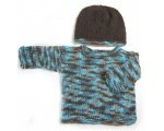 KSS Aqua/Brown Colored Soft Sweater with a Hat (9 - 12 Months)