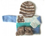 KSS Soft Light Blue and Brown Sweater, Cap & Booties (18 Months)