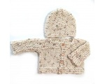 KSS Natural Colored Cotton Sweater/Cardigan with Hat Newborn - 3 Months