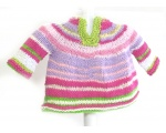 KSS Pink/White/Green Striped Toddler Sweater Vest (2 Years) KSS-SW-740