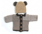 KSS Brown Teddy Sweater/Cardigan with a Hat Newborn
