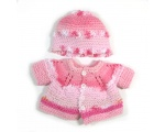 KSS Pink/Red Sweater/Cardigan with a Hat (3 Months)