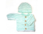 KSS Mint green/White Sweater/Cardigan with a Hat (3 Months)
