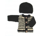 KSS Black/Natural Striped Sweater/Cardigan with a Hat Newborn