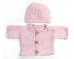 KSS Very Soft Pink Sweater/Cardigan with a Hat (NB-3 Months)