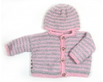 KSS Pink/Grey Knitted Sweater/Jacket & Hat (2 Years/3T)