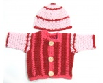 KSS Pink/Red Cardigan and Hat 3 Months