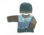 KSS Blue/Brown Heavy Sweater/Cardigan with a Hat (6 Months)