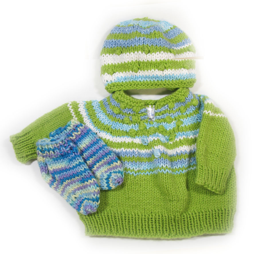 KSS Light Blue/Green Pullover Sweater with a Hat (9 Months) SW-973 KSS-SW-973-EBK