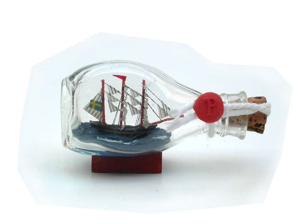 Small Ship in a bottle with Swedish flag - Click Image to Close