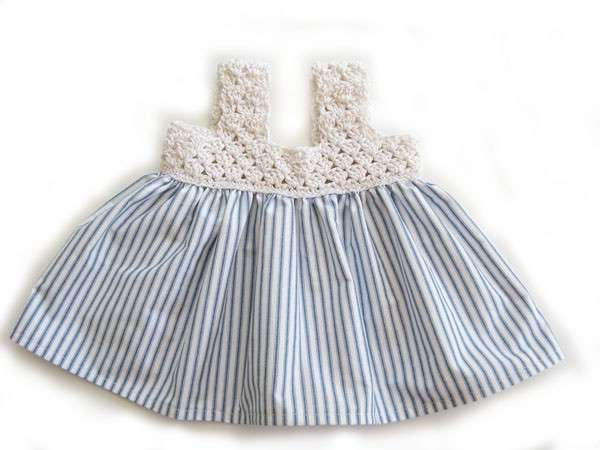 KSS Cotton Dress Off white/Navy 6-9 Months