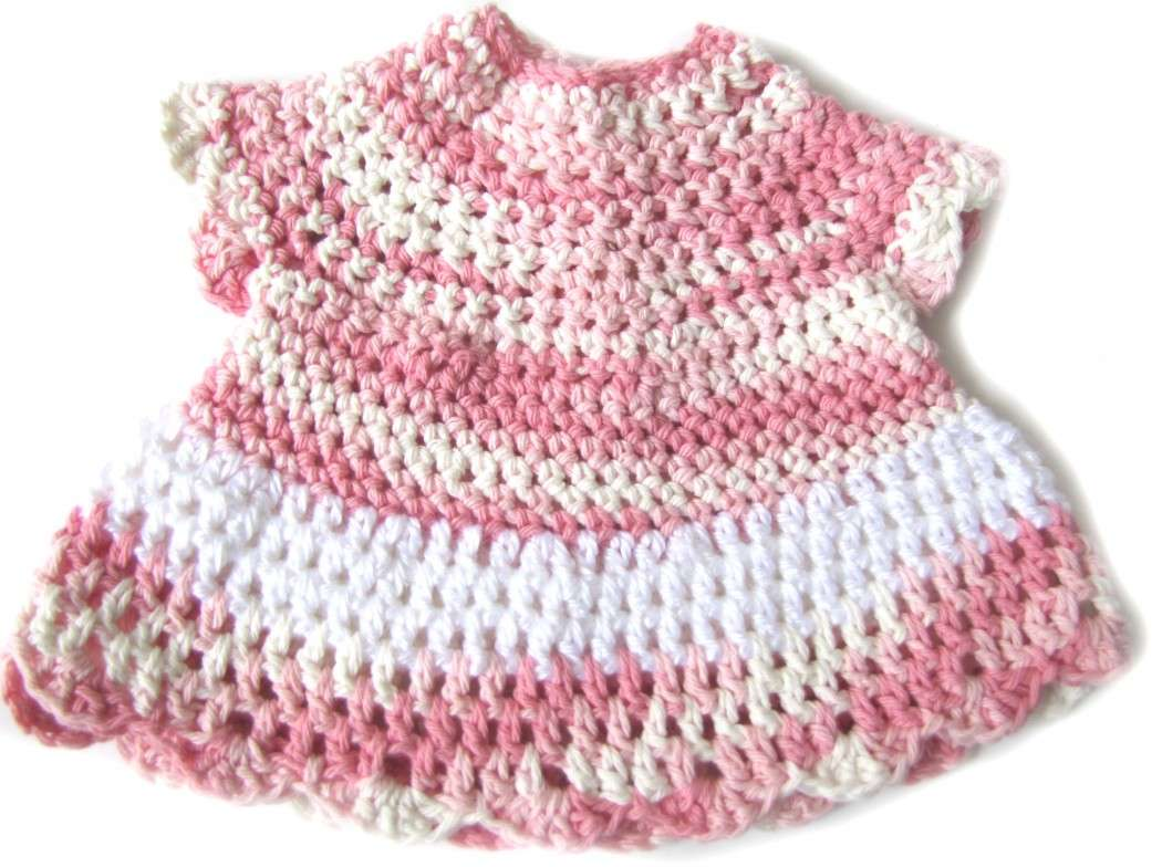 KSS Pink an White Crocheted Dress & Headband 3 Months - Click Image to Close