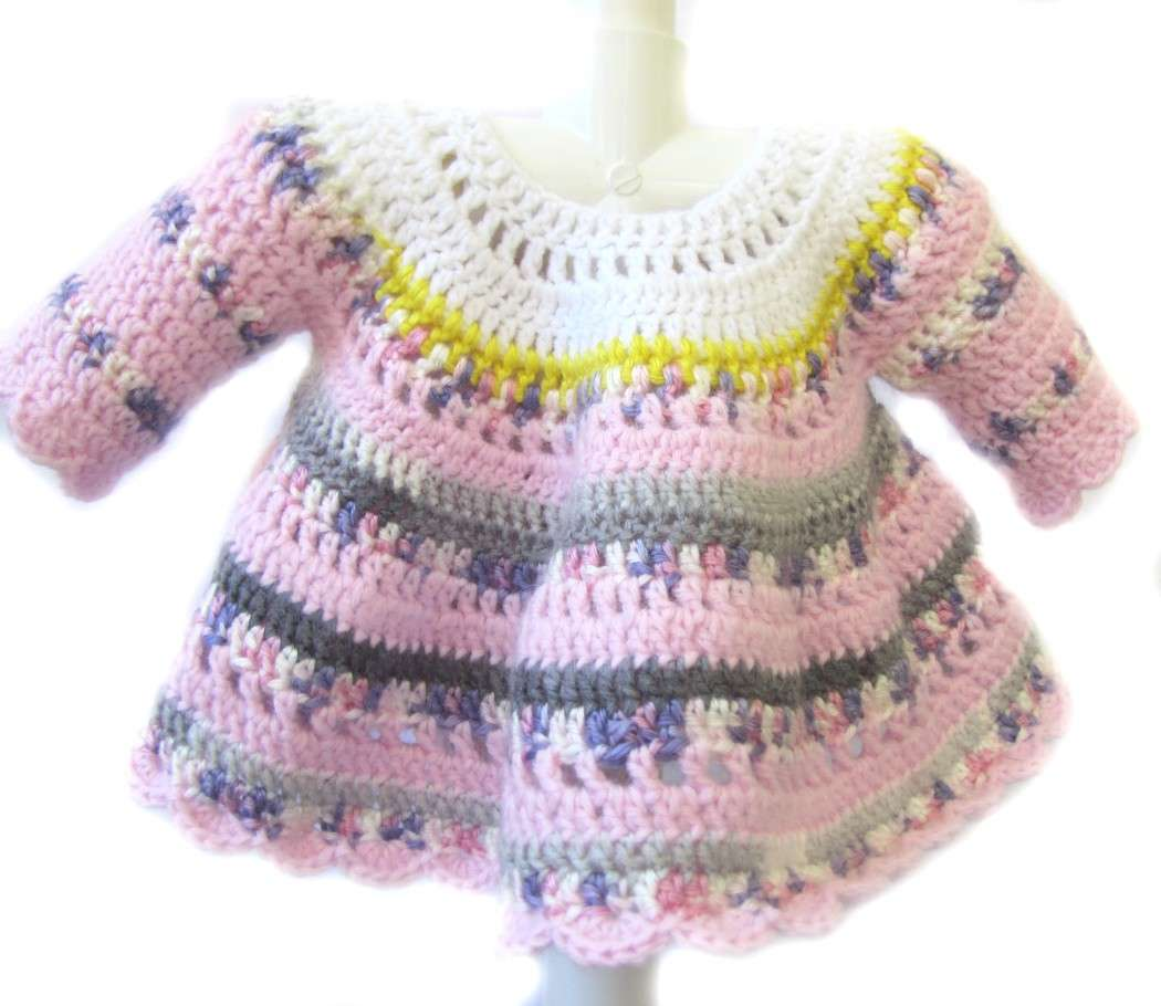 KSS Pink/Gre Crocheted Long Sleeve Dress 9 Months - Click Image to Close