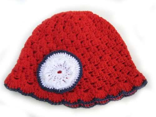 "KSS Red Cotton Cap with Navy Trim 16"" (12-24 Months) - Click Image to Close"