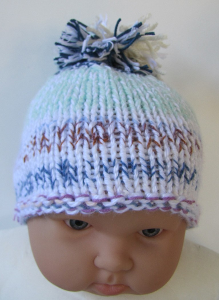 "KSS Light Blue/White/Grey Knitted Cap 13-15"" (6-12 Months) - Click Image to Close"