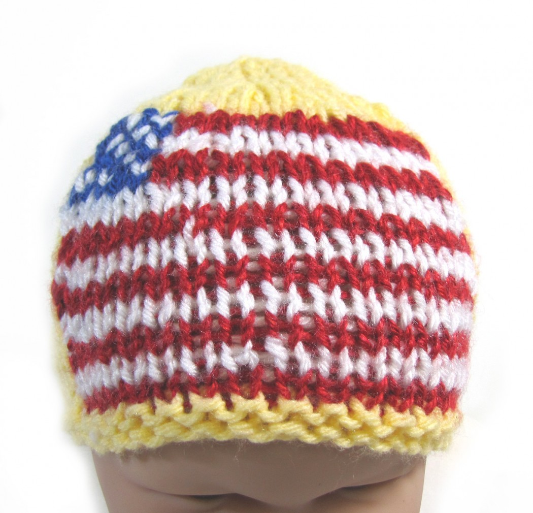 "KSS Yellow Beanie with a US Flag 15"" (6-18 Months) - Click Image to Close"