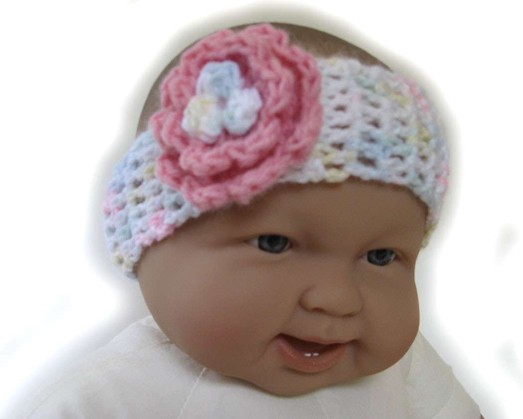 KSS Crocheted Pastel Colored headband 6-12 Months - Click Image to Close