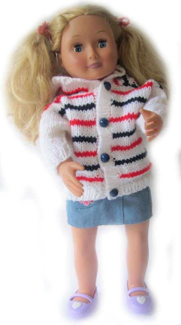 "KSS Flag Colored Hooded Sweater Cardigan for 18"" Doll - Click Image to Close"