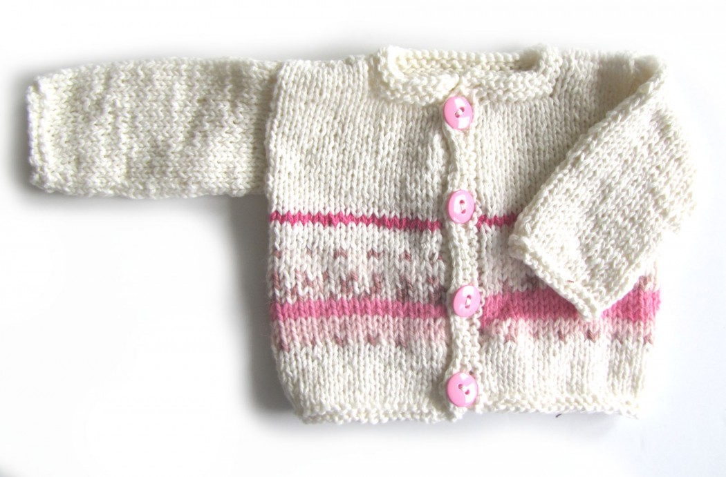 KSS Soft Ecru/Pink Sweater/Cardigan (3 Months) - Click Image to Close