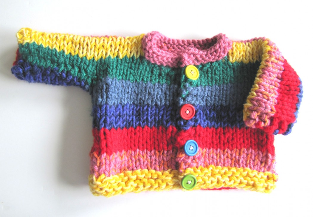 KSS Heavy Rainbow Sweater/Cardigan 18 Months - Click Image to Close