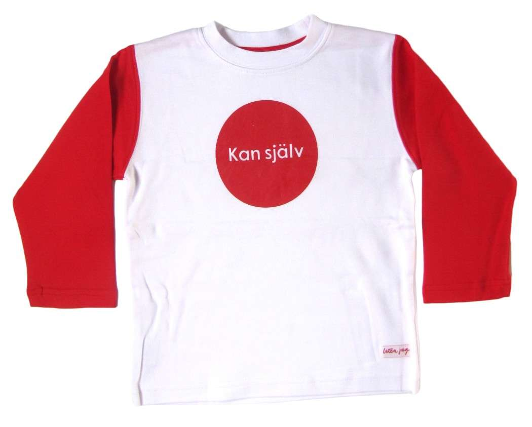"Liten Jag T-shirt ""Kan själv"" (Do it myself) Red 2 - 3 Years - Click Image to Close"