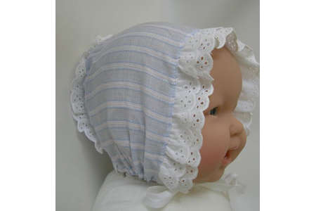 Eyelet Trimmed Lightblue Cotton Bonnet Size 24 Months