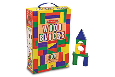 Melissa & Doug 100 Colorful Shaped Wood Blocks