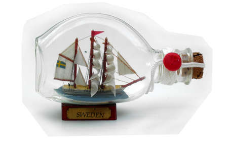 Tall Clipper Ship in a bottle with SWEDEN plaque