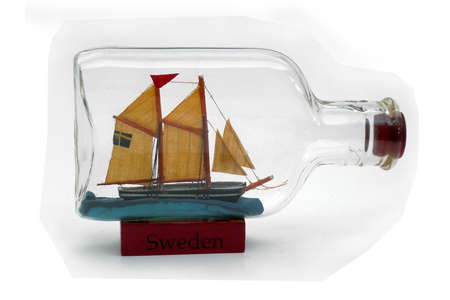 Ship in a bottle with Swedish flag